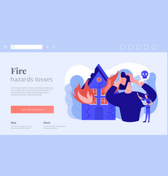 Fire consequences concept landing page vector