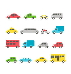 Flat design car set vector
