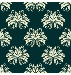 Floral seamless pattern in green and beige colors vector image
