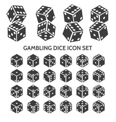 gambling dice icon set vector image