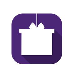 gift box flat icon with long shadow holiday badge vector image
