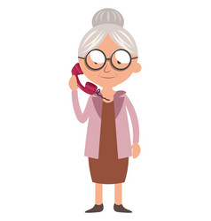 Granny with telephone on white background vector