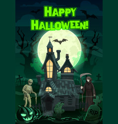 halloween ghosts and monsters with haunted house vector image