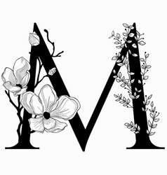 hand drawn floral m monogram and logo vector image