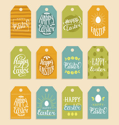 Happy easter hand lettering greeting cards vector
