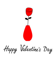happy valentines day rose flower blossom vase pot vector image