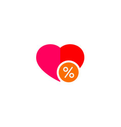 heart with percent icon vector image