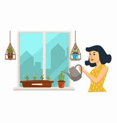 Home plantation woman watering indoor plants vector