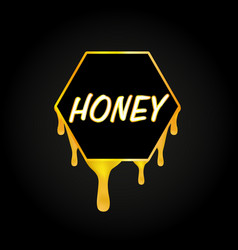 honeycomb and honey dripping on black background vector image