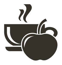icon cup of hot tea with apple flavor logo in vector image