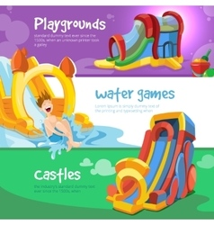 Inflatable castles and children hills vector
