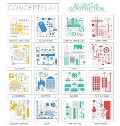 Infographics mini concept building construction vector