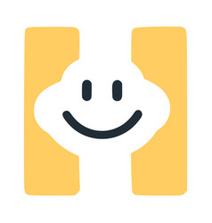 Letter h with a smile on the face character in vector