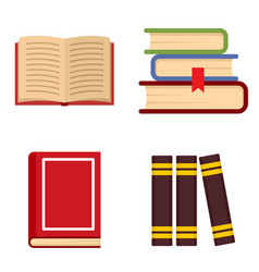 Library books icon set flat style vector