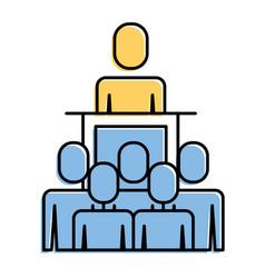 meeting business people boss podium presentation vector image