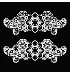 Mehndi indian henna tattoo white pattern on black vector