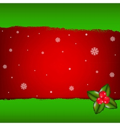 Merry Christmas Card With Holly Berry vector image