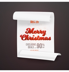 Merry Christmas Sale Poster Template vector image