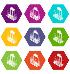metal balcony icons set 9 vector image