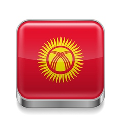 Metal icon of Kyrgyzstan vector image