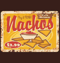 mexican nachos and sauce rusty metal sign board vector image