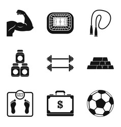 muscle building icons set simple style vector image
