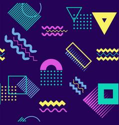 Neon geometric seamless pattern on dark background vector
