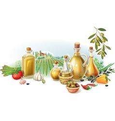 Olive harvest against rural landscape vector