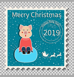 pig sledding christmas postage stamp vector image