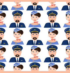 pilot and stewardess face in uniform airport vector image