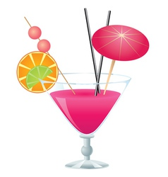 Pink cocktail vector