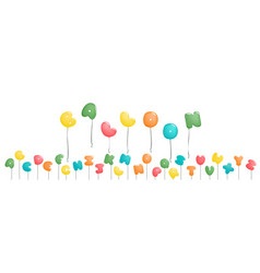 plump handwritten alphabet colorful balloon vector image