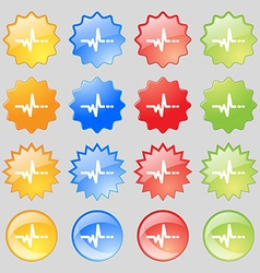pulse icon sign Big set of 16 colorful modern vector image