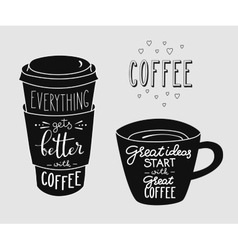 Quote lettering on coffee cup shape set vector