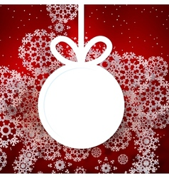 Red shiny christmas background with bauble vector image