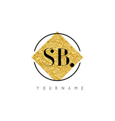 sb letter logo with golden foil texture vector image