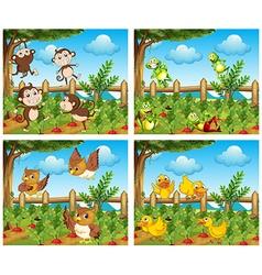 Scenes with animals in farmyard vector