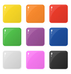 Set 9 glossy square colorful buttons isolated vector