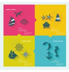 set sea labels flat design vector image