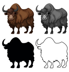 Set yak charatcer vector