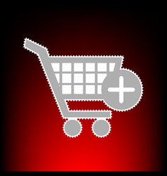shopping cart with add mark vector image