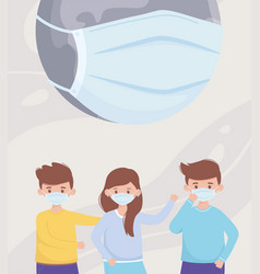 sick world and people with masks save planet vector image