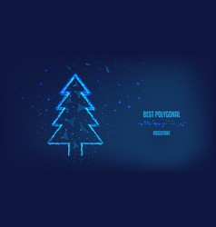 silhouette christmas tree from polygons vector image
