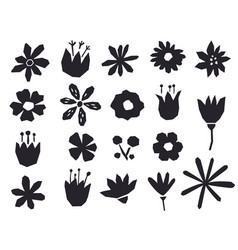 silhouettes flowers in a geometric style black vector image