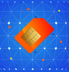 Sim telephone card over network background vector