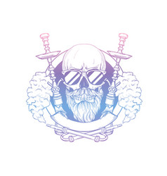 sketch hipster skull with hookah vector image