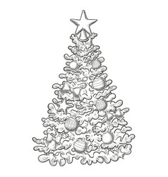sketch of christmas tree vector image