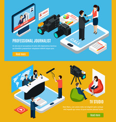 Television journalism isometric banners vector