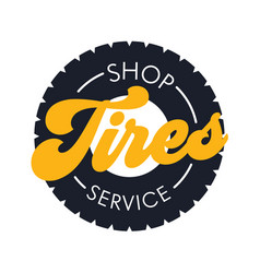 tires shop service banner in flat style poster vector image