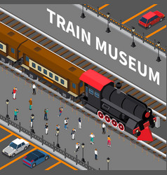 train museum isometric composition vector image